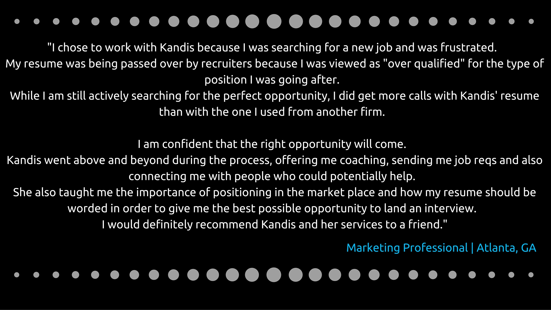 Marketing professional testimonial